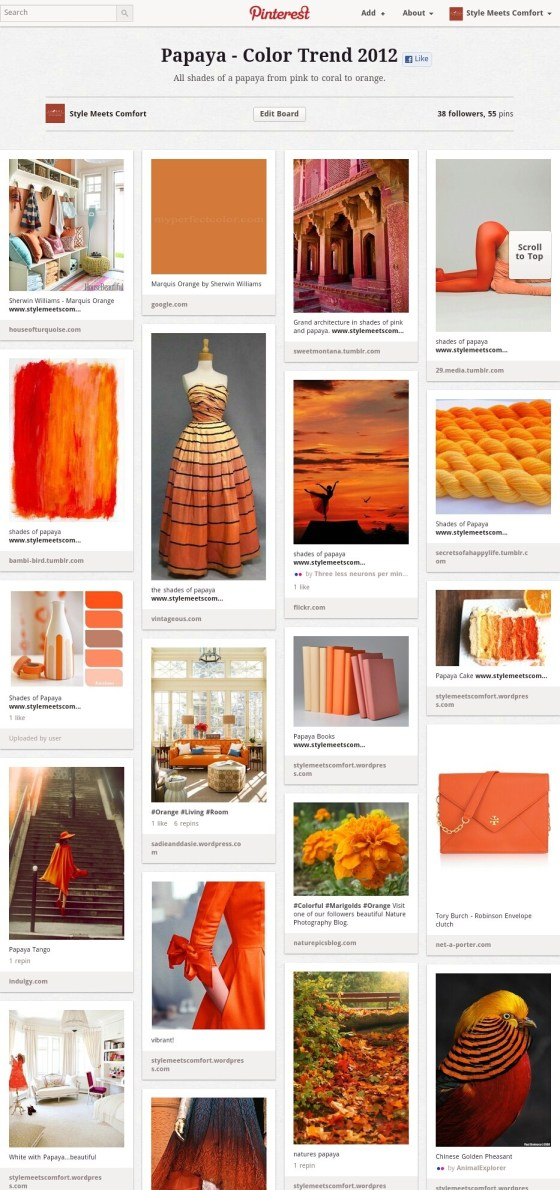 Shades of Orange Pinterest Board