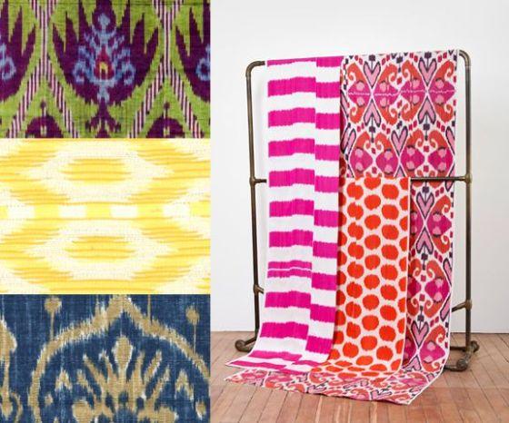 IKAT Fabrics on a rack