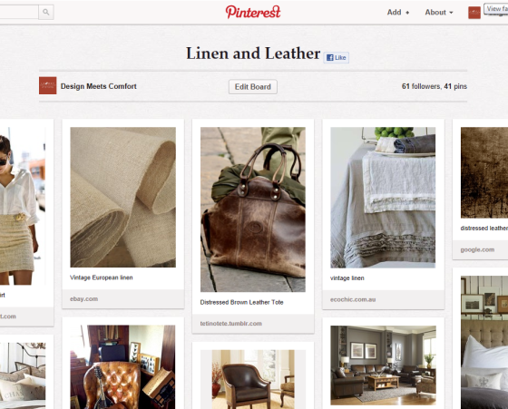 Design meets Comfort - Linen and Leather on Pinterest