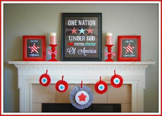 Patriotic Mantel Decorating