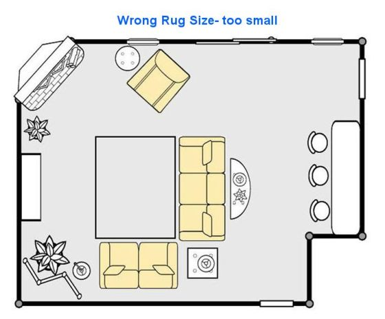 The rug is too small for the room