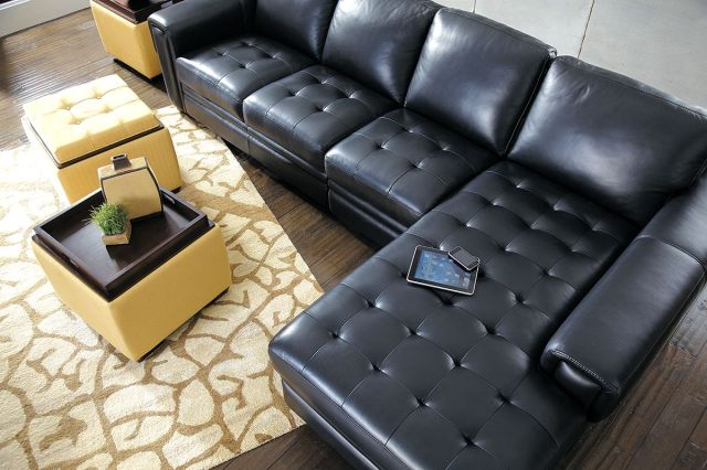 Modern Zane Sectional by La-Z-Boy - Black Leather