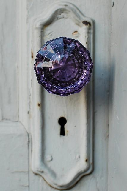 Crystal Plum Door Knob