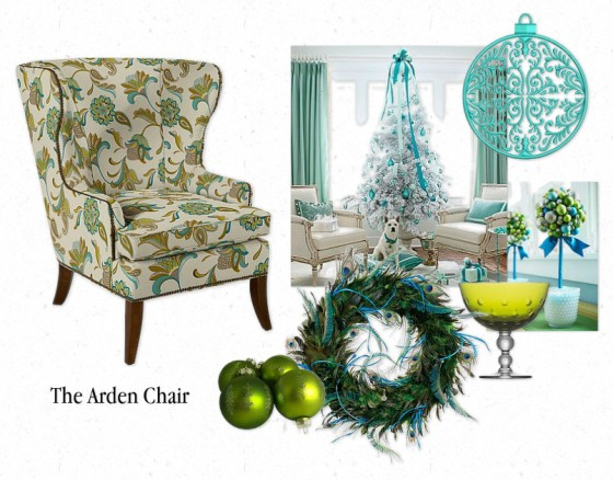 The Arden Chair by La-Z-Boy in shades of turquoise for Christmas