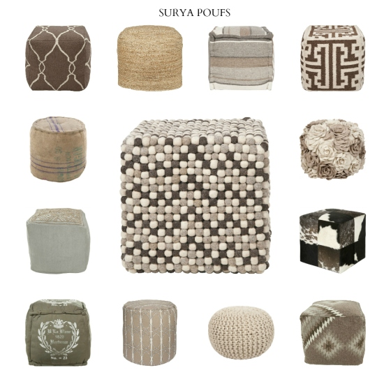 Surya Poufs in Neutrals