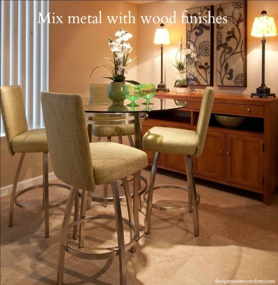 Mix metal with wood finishes